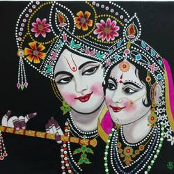 spiritual beauties of love  30 x 24 inch by j.k  chhatwal,30x24inch,lord krishna,radha,beauty,music,couple,love,togetherness,romance,religious,GAL0537816603,krishna,Lord krishna,krushna,radha krushna,flute,peacock feather,melody,peace,religious,god,flower,leaves,love