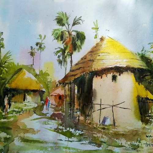 village of bengal , 29 x 14 inch, tuhin rakshit,paintings,landscape paintings,nature paintings,realism paintings,realistic paintings,paintings for dining room,paintings for living room,paintings for bedroom,paintings for office,paintings for hotel,paintings for kitchen,paintings for school,paintings for hospital,handmade paper,watercolor,29x14inch,GAL0375816612Nature,environment,Beauty,scenery,greenery