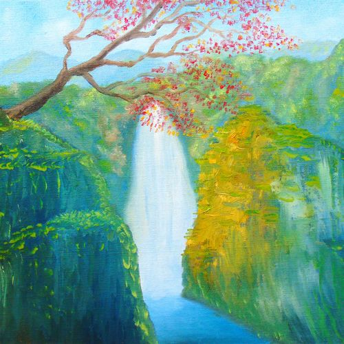 fantasy landscape, 20 x 16 inch, rijoy  emmanuel,paintings,nature paintings,paintings for dining room,paintings for living room,paintings for office,canvas board,oil,20x16inch,GAL0643116629Nature,environment,Beauty,scenery,greenery