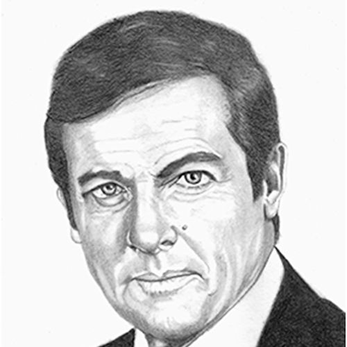 roger moore, 8 x 10 inch, shivkumar  menon,drawings,portrait drawings,paintings for living room,thick paper,graphite pencil,8x10inch,GAL098616640