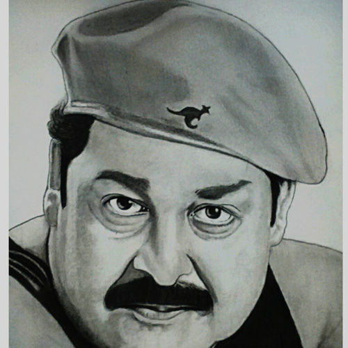 mohanlal, 11 x 15 inch, shivkumar  menon,drawings,portrait drawings,paintings for living room,thick paper,graphite pencil,11x15inch,GAL098616645