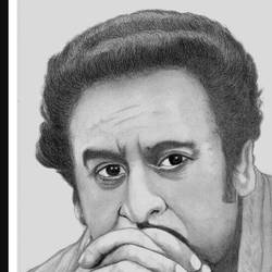 kishore kumar, 7 x 10 inch, shivkumar  menon,drawings,portrait drawings,paintings for living room,thick paper,graphite pencil,7x10inch,GAL098616650