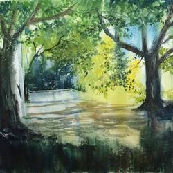 nature painting - into the woods, 26 x 18 inch, dipankar  biswas,paintings,nature paintings,paintings for living room,paintings for living room,handmade paper,watercolor,26x18inch,GAL0293216660Nature,environment,Beauty,scenery,greenery,leaves,flowers,peace,sunset,water,beautiful