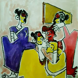 ladies chitchat, 8 x 12 inch, seethu king,paintings,folk art paintings,paintings for kitchen,paintings for kitchen,thick paper,charcoal,watercolor,8x12inch,GAL0510416670