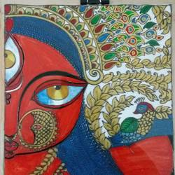 durga, 14 x 15 inch, deepti agrawal,paintings,figurative paintings,folk art paintings,religious paintings,paintings for living room,paintings for hotel,acrylic glass,mixed media,14x15inch,GAL0596816677