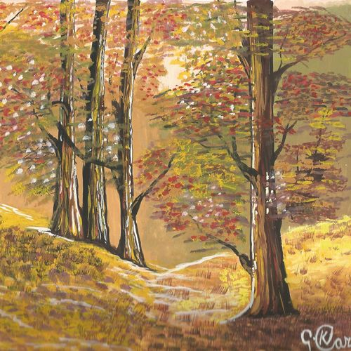 breezy autumn!!, 9 x 11 inch, karthika gokulakrishnan,paintings,nature paintings,paintings for dining room,paintings for living room,paintings for bedroom,paintings for office,paintings for kids room,thick paper,poster color,9x11inch,GAL0729616681Nature,environment,Beauty,scenery,greenery