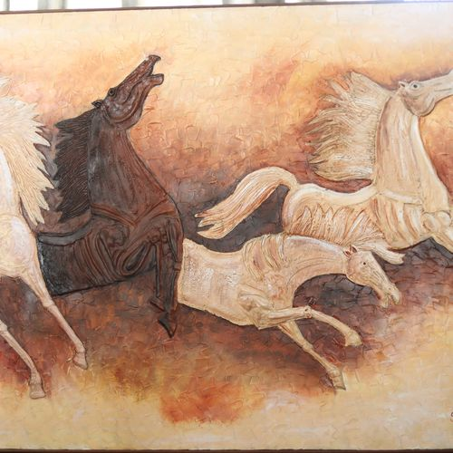 mural, 48 x 32 inch, sunita swaroop,paintings,horse paintings,paintings for dining room,paintings for living room,paintings for bedroom,paintings for office,paintings for hotel,paintings for hospital,ply board,acrylic color,48x32inch,GAL0755816698