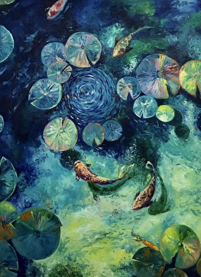 life under water , 30 x 40 inch, sanjana nagpal,abstract paintings,paintings for dining room,paintings for living room,paintings for bedroom,paintings for office,paintings for school,paintings for hospital,canvas,oil,30x40inch,GAL0755516699