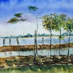 nature painting - village life charabari i, 26 x 19 inch, dipankar  biswas,paintings,nature paintings,paintings for living room,handmade paper,watercolor,26x19inch,GAL0293216701Nature,environment,Beauty,scenery,greenery