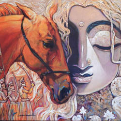 warrior-iii, 36 x 24 inch, subrata ghosh,figurative paintings,paintings for dining room,paintings for living room,paintings for bedroom,paintings for office,paintings for hotel,horse paintings,canvas,acrylic color,36x24inch,GAL040216703