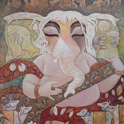 tune of divine, 30 x 36 inch, subrata ghosh,paintings,figurative paintings,ganesha paintings,paintings for dining room,paintings for living room,paintings for bedroom,paintings for office,paintings for hotel,paintings for hospital,canvas,acrylic color,30x36inch,GAL040216706,vinayak,ekadanta,ganpati,lambodar,peace,devotion,religious,lord ganesha,lordganpati,ganpati,ganesha,lord ganesh,elephant god,religious,ganpati bappa morya,mouse,mushakraj,ladoo,ganpati bappa morya,ganesh chaturthi,ganesh murti,elephant god,religious,lord ganesh,ganesha,om,hindu god,shiv parvati, putra,bhakti,blessings,aashirwad,pooja,puja,aarti,ekdant,vakratunda,lambodara,bhalchandra,gajanan,vinayak,prathamesh,vignesh,heramba,siddhivinayak,mahaganpati,omkar,mushak,mouse,ladoo,modak