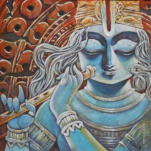 tirupati, 20 x 20 inch, subrata ghosh,paintings,figurative paintings,radha krishna paintings,paintings for dining room,paintings for living room,paintings for bedroom,paintings for office,paintings for hotel,canvas,acrylic color,20x20inch,krishna,lord,flute,music,peace,lordkrishna,religious,GAL040216707,krishna,Lord krishna,krushna,radha krushna,flute,peacock feather,melody,peace,religious,god,love,romance