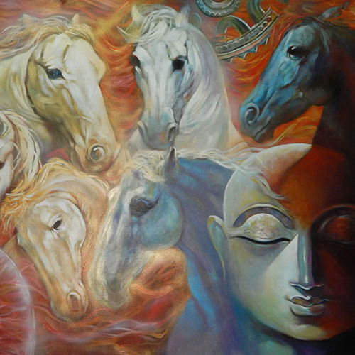 the power, 72 x 48 inch, subrata ghosh,figurative paintings,animal paintings,paintings for dining room,paintings for living room,paintings for bedroom,paintings for office,paintings for hotel,horse paintings,canvas,acrylic color,72x48inch,GAL040216710