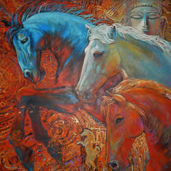 inner strength, 48 x 48 inch, subrata ghosh,figurative paintings,nature paintings,animal paintings,paintings for dining room,paintings for living room,paintings for bedroom,paintings for office,paintings for hotel,horse paintings,canvas,acrylic color,48x48inch,GAL040216712Nature,environment,Beauty,scenery,greenery,horses,animal,wildlife
