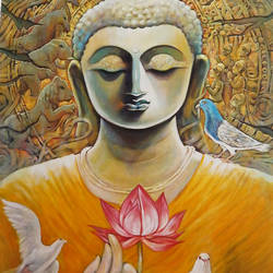 nirvana, 36 x 48 inch, subrata ghosh,paintings,buddha paintings,figurative paintings,paintings for dining room,paintings for living room,paintings for bedroom,paintings for office,paintings for hotel,canvas,acrylic color,36x48inch,peace,meditation,meditating,gautam,goutam,orange,bird,lotus,GAL040216714,peace,lordbuddha,inner,lordface,lotus,gautaum,pigeon,elephant,horses,meditate