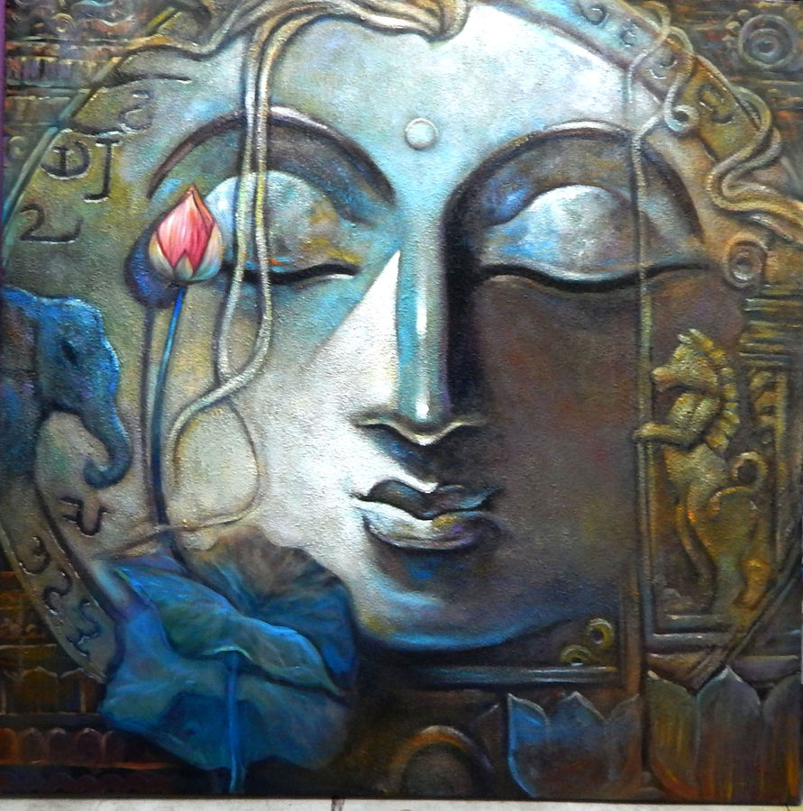 inner eye, 48 x 48 inch, subrata ghosh,paintings,buddha paintings,figurative paintings,paintings for dining room,paintings for living room,paintings for bedroom,paintings for office,paintings for hotel,canvas,acrylic color,48x48inch,peace,meditation,meditating,gautam,goutam,blue,lotus,religious,GAL040216715,peace,lordbuddha,inner,lordface,lotus,gautaum,elephant