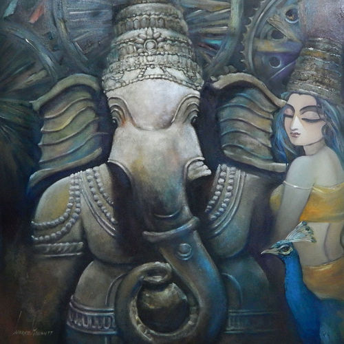 vinayaka, 48 x 48 inch, subrata ghosh,paintings,figurative paintings,ganesha paintings,contemporary paintings,paintings for dining room,paintings for living room,paintings for bedroom,paintings for office,paintings for hotel,canvas,acrylic color,48x48inch,GAL040216717,vinayak,ekadanta,ganpati,lambodar,peace,devotion,religious,lord ganesha,lordganpati,ganpati,ganesha,lord ganesh,elephant god,religious,ganpati bappa morya,mouse,mushakraj,ladoo,sweets,ganpati bappa morya,ganesh chaturthi,ganesh murti,elephant god,religious,lord ganesh,ganesha,om,hindu god,shiv parvati, putra,bhakti,blessings,aashirwad,pooja,puja,aarti,ekdant,vakratunda,lambodara,bhalchandra,gajanan,vinayak,prathamesh,vignesh,heramba,siddhivinayak,mahaganpati,omkar,mushak,mouse,ladoo,modak