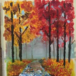 reds and yellows, 10 x 15 inch, neha mantry,paintings,nature paintings,realistic paintings,paintings for dining room,paintings for living room,paintings for bedroom,paintings for office,paintings for hotel,canvas,oil,10x15inch,GAL0757216736Nature,environment,Beauty,scenery,greenery