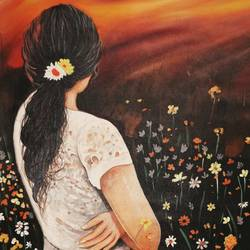 sunset dreams, 27 x 35 inch, devika sathyavelu,paintings,figurative paintings,nature paintings,paintings for dining room,paintings for living room,paintings for bedroom,paintings for office,paintings for hotel,canvas,acrylic color,27x35inch,GAL0755116738Nature,environment,Beauty,scenery,greenery