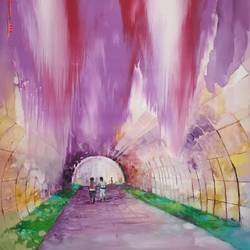 tunnel of innocence, 24 x 34 inch, devika sathyavelu,paintings,modern art paintings,paintings for living room,paintings for office,canvas,oil,24x34inch,GAL0755116743