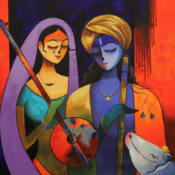 radha krishna, 36 x 36 inch, sunita  singh,paintings,portrait paintings,canvas,acrylic color,36x36inch,GAL0644016745
