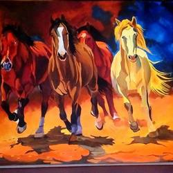 runnning horse vastu painting, 40 x 40 inch, sunita  singh,paintings,portrait paintings,animal paintings,horse paintings,canvas,acrylic color,pastel color,40x40inch,GAL0644016747