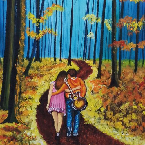 lovers walk at evening, 18 x 24 inch, sandhya kumari,paintings,flower paintings,landscape paintings,nature paintings,love paintings,paintings for dining room,paintings for living room,paintings for bedroom,paintings for office,paintings for hotel,canvas,acrylic color,18x24inch,GAL0365916751heart,family,caring,happiness,forever,happy,trust,passion,romance,sweet,kiss,love,hugs,warm,fun,kisses,joy,friendship,marriage,chocolate,husband,wife,forever,caring,couple,sweetheartNature,environment,Beauty,scenery,greenery
