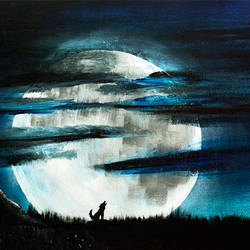 lonely night, 18 x 36 inch, totem creations,paintings,conceptual paintings,nature paintings,animal paintings,paintings for dining room,paintings for living room,paintings for bedroom,paintings for office,canvas,acrylic color,18x36inch,GAL0757016756Nature,environment,Beauty,scenery,greenery