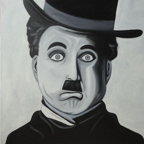charlie chaplin, 24 x 24 inch, amita dand,paintings for dining room,paintings for living room,paintings for office,paintings for kids room,paintings for hotel,paintings for school,paintings for hospital,figurative drawings,photorealism drawings,portrait drawings,canvas board,oil,24x24inch,old actor,GAL0146716762