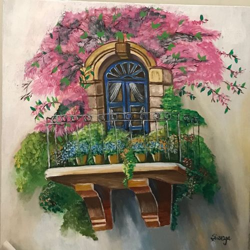 the bougainville , 20 x 20 inch, shreya kapoor,paintings,flower paintings,paintings for dining room,paintings for living room,paintings for bedroom,paintings for office,paintings for hotel,paintings for dining room,paintings for living room,paintings for bedroom,paintings for office,paintings for hotel,canvas,acrylic color,20x20inch,GAL0758116767