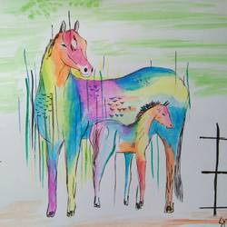 horse and pony, 14 x 11 inch, shravani  somayajula ,paintings,animal paintings,paintings for living room,paintings for bedroom,paintings for kids room,paintings for school,ivory sheet,watercolor,14x11inch,GAL0606916795