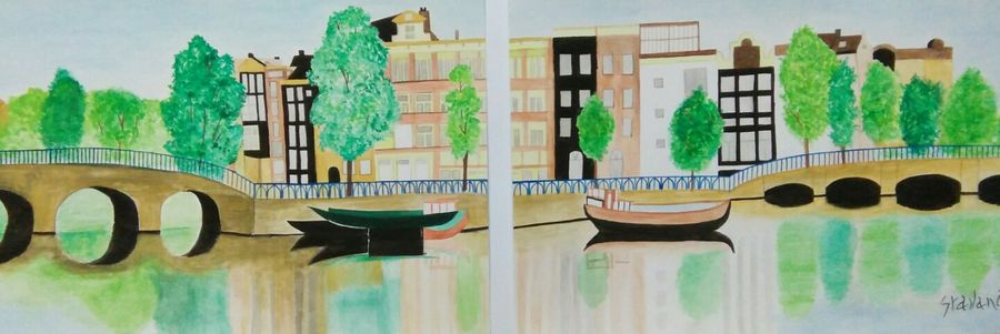 reflection , 22 x 8 inch, shravani  somayajula ,paintings,cityscape paintings,multi piece paintings,nature paintings,paintings for dining room,paintings for living room,paintings for bedroom,paintings for office,paintings for kids room,paintings for hotel,paintings for school,paintings for hospital,ivory sheet,watercolor,22x8inch,GAL0606916801Nature,environment,Beauty,scenery,greenery,reflection,houses,trees
