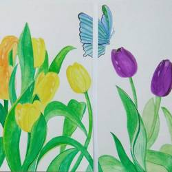 tulips , 25 x 11 inch, shravani  somayajula ,paintings,flower paintings,multi piece paintings,paintings for dining room,paintings for living room,paintings for bedroom,paintings for office,paintings for bathroom,paintings for kids room,paintings for hotel,paintings for kitchen,paintings for school,paintings for hospital,ivory sheet,watercolor,25x11inch,GAL0606916802