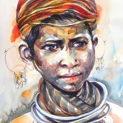 tribal girl , 16 x 24 inch, bijendra  pratap ,figurative paintings,paintings for living room,brazilian paper,watercolor,16x24inch,GAL04531681