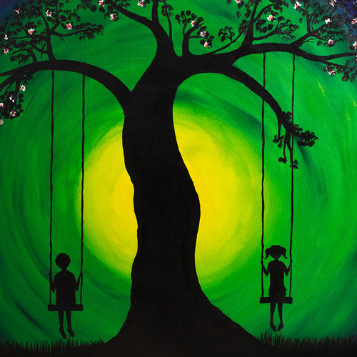 girl and boy on swing, 36 x 36 inch, totem creations,paintings,figurative paintings,paintings for dining room,paintings for living room,paintings for bedroom,paintings for office,paintings for bathroom,paintings for kids room,paintings for hotel,paintings for kitchen,paintings for school,paintings for hospital,canvas,acrylic color,36x36inch,GAL0757016811