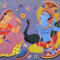 kunjaban, 33 x 48 inch, bhaskar lahiri,radha krishna paintings,canvas,acrylic color,33x48inch,GAL0209716813,lordkrishna,krishna,love,peacock,devotion,peaece,lordradha,