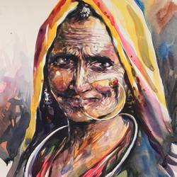 smile of wrinkles , 16 x 24 inch, bijendra  pratap ,figurative paintings,paintings for living room,brazilian paper,watercolor,16x24inch,GAL04531682