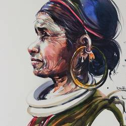 tribal lady , 16 x 24 inch, bijendra  pratap ,figurative paintings,paintings for living room,brazilian paper,watercolor,16x24inch,GAL04531683