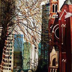 still city , 30 x 40 inch, sanjana nagpal,paintings,abstract paintings,canvas,oil,30x40inch,GAL0755516852