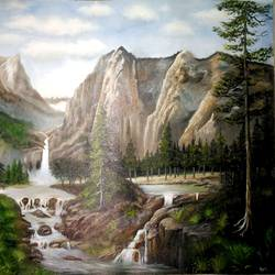 nature, 38 x 24 inch, anandi m,paintings,landscape paintings,nature paintings,paintings for dining room,paintings for living room,paintings for bedroom,paintings for office,paintings for hotel,paintings for school,canvas,oil,38x24inch,GAL0307716856Nature,environment,Beauty,scenery,greenery,houses,leaves,flowers,peace,mountains,water,beautiful
