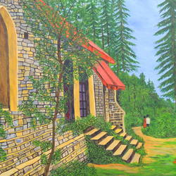 evening stroll, 40 x 30 inch, ajay harit,paintings,landscape paintings,nature paintings,realism paintings,paintings for dining room,paintings for living room,paintings for bedroom,paintings for office,paintings for hotel,paintings for school,paintings for hospital,canvas,oil,40x30inch,GAL0199816860Nature,environment,Beauty,scenery,greenery,tree,house