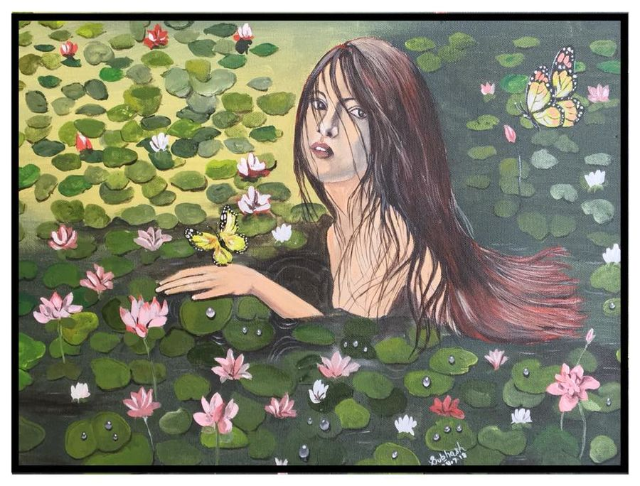 beuty and lotus, 20 x 16 inch, subhash gijare,paintings,figurative paintings,nature paintings,paintings for dining room,paintings for living room,paintings for bedroom,paintings for office,paintings for bathroom,paintings for kids room,paintings for hotel,paintings for kitchen,canvas,acrylic color,20x16inch,GAL013816861Nature,environment,Beauty,scenery,greenery,girl,leaves,lotus,peace,waterlilies,water,beautiful