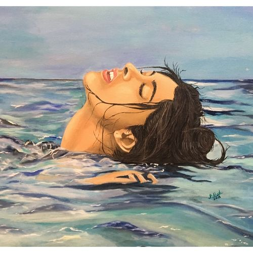 floating girl, 20 x 16 inch, subhash gijare,paintings,figurative paintings,nature paintings,paintings for dining room,paintings for living room,paintings for bedroom,paintings for office,paintings for bathroom,paintings for kids room,paintings for hotel,paintings for kitchen,paintings for hospital,canvas,acrylic color,oil,20x16inch,GAL013816862Nature,environment,Beauty,scenery,greenery,wet,ocean,peace,girl,water,beautiful