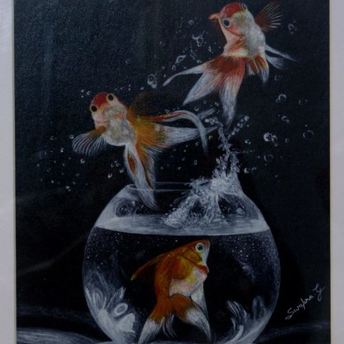 acrylic gold fish in blow (painting), 10 x 16 inch, aikya enterprise,paintings for dining room,paintings for living room,paintings for bedroom,wildlife paintings,animal paintings,hardboard,acrylic color,10x16inch,GAL0760916870