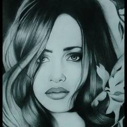 girl portrait, 17 x 23 inch, poornima bhardwaj,drawings,paintings for dining room,paintings for living room,paintings for bedroom,portrait drawings,paintings for dining room,paintings for living room,paintings for bedroom,ivory sheet,charcoal,17x23inch,GAL0760616872