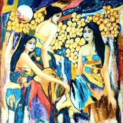 three ladies, 24 x 18 inch, poornima bhardwaj,paintings,abstract paintings,modern art paintings,expressionist paintings,contemporary paintings,paintings for living room,paintings for bedroom,paintings for hotel,canvas,oil,24x18inch,GAL0760616875