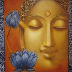 buddha , 24 x 18 inch, poornima bhardwaj,paintings,buddha paintings,religious paintings,contemporary paintings,paintings for living room,paintings for bedroom,paintings for office,paintings for hotel,paintings for school,canvas board,acrylic color,mixed media,sand,24x18inch,religious,peace,meditation,meditating,gautam,goutam,buddha,brown,lotus,face,GAL0760616876