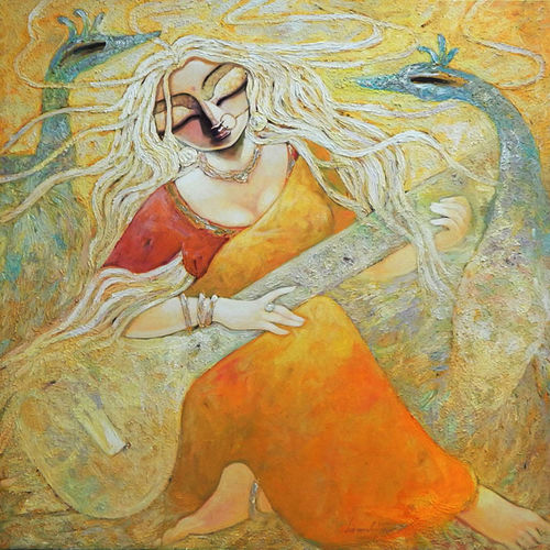 para, 40 x 40 inch, subrata ghosh,paintings,figurative paintings,contemporary paintings,paintings for dining room,paintings for living room,paintings for bedroom,paintings for office,paintings for hotel,canvas,acrylic color,40x40inch,GAL040216908
