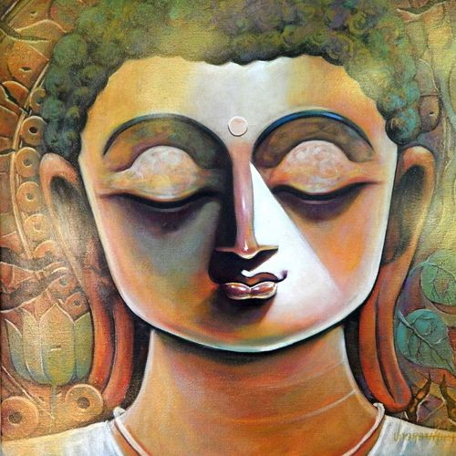 peace, 20 x 20 inch, subrata ghosh,paintings,buddha paintings,figurative paintings,contemporary paintings,paintings for dining room,paintings for living room,paintings for bedroom,paintings for office,paintings for hotel,canvas,acrylic color,20x20inch,peace,meditation,meditating,thinking,colorful,idol,gautam,goutam,religious,GAL040216909,peace,lordbuddha,inner,lordface,lotus,gautaum,leaves