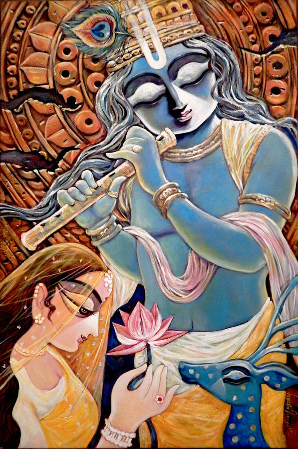 pooja 24 x 36 inch by subrata ghosh,24x36inch,krishna,music,flute,kanha,peace,blue,lord,religious,GAL040216910,krishna,Lord krishna,krushna,radha krushna,flute,peacock feather,melody,peace,religious,god,flower,leaves,love